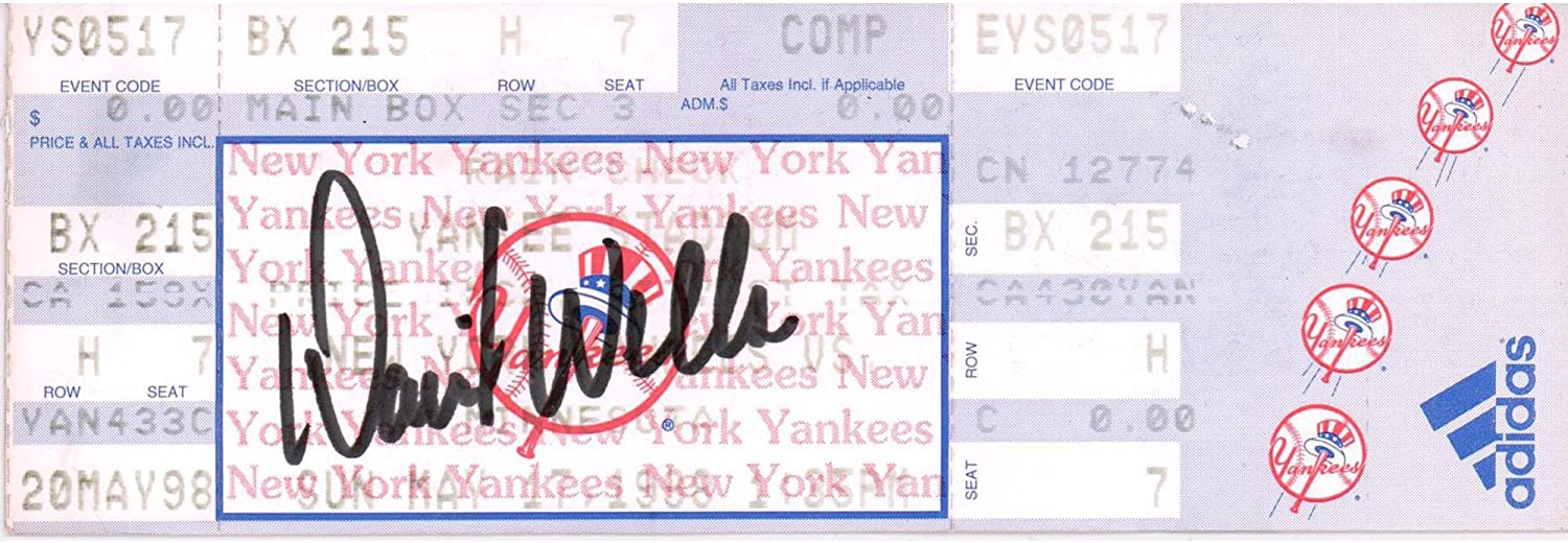David Wells Yankees Autographed May 20, 1998 Game Ticket - MLB Autographed Miscellaneous Items