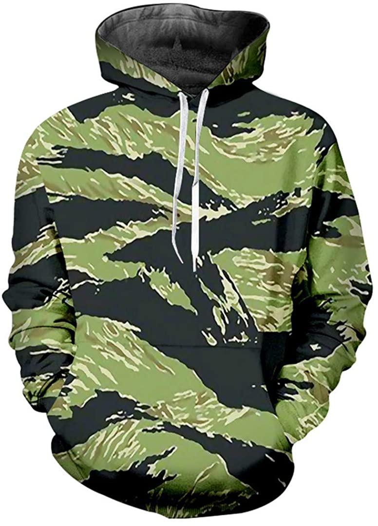 G-Brensnely 3D Printed Green Camouflage Hoodie Sweatshirt Male Long Sleeve Hooded Hoody