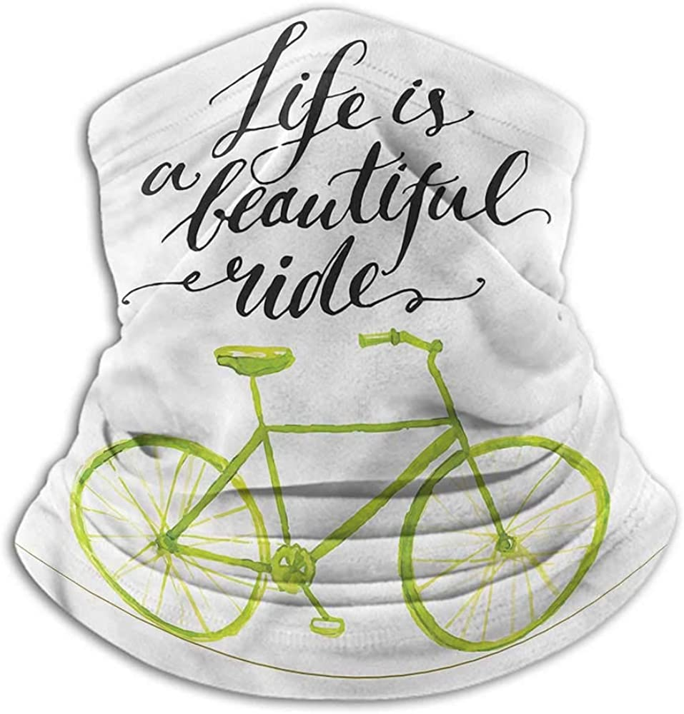 Hair Scarf Bicycle Headband Neck Gaiter Motivating Quote 10 x 12 Inch
