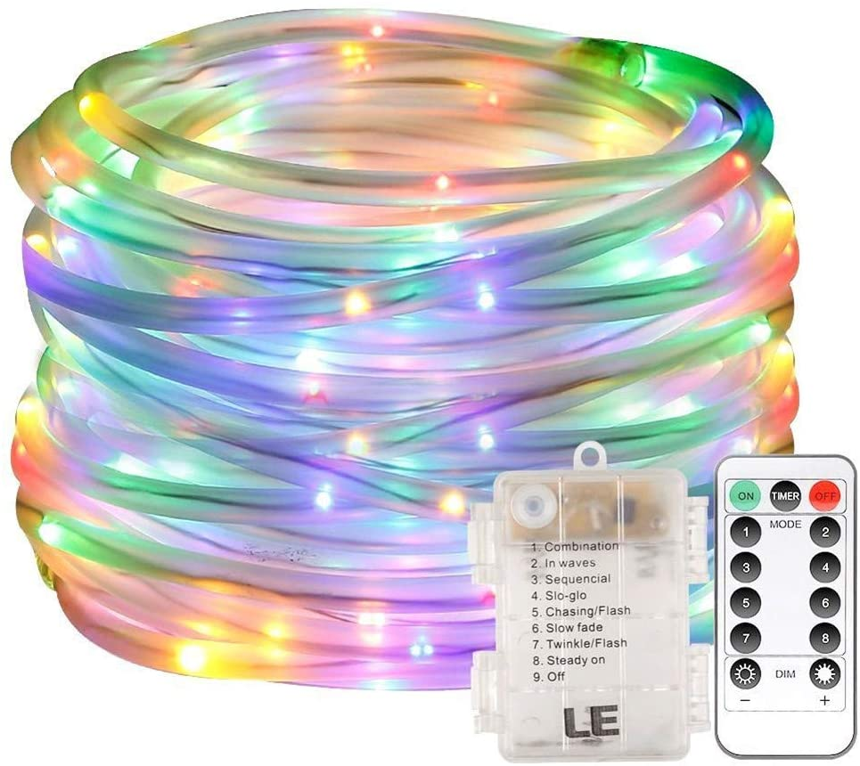 PEIQI LIGHT LED Lights Battery Operated Christmas Lights with Romote Timer Copper Wire for DIY Wedding Dinner Party Bedroom Christmas Decor,Colorful,5M50head