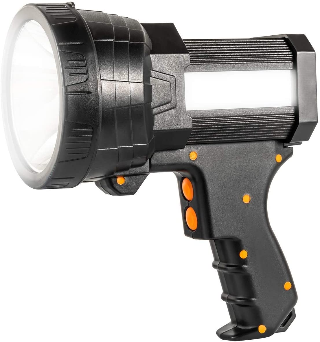 HWZGSLC LED Rechargeable Spotlight Flashlight with 6000 Lumen LED, 9600mAh Long Lasting Portable Searchlight Flood Light 3 Light Modes Side Tactical Torch with USB Output