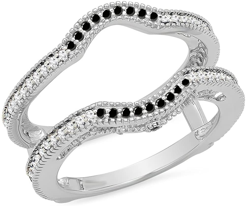 Dazzlingrock Collection 0.50 Carat (ctw) 14K Gold Black & White Diamond Anniversary Wedding Guard Ring 1/2 CT