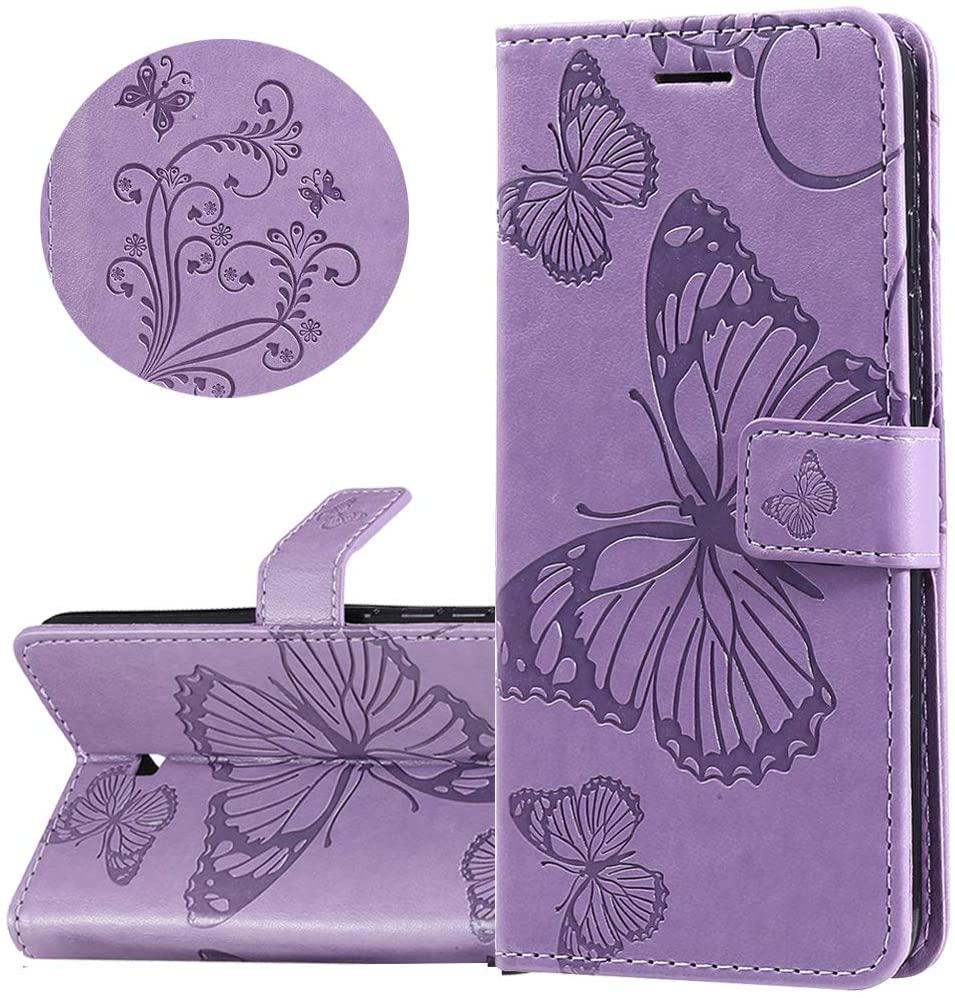 ISADENSER LG K30 2019 Case, LG Arena 2 Case, LG Escape Plus Case, LG Journey LTE Case [Business Embossing] [Kickstand Flip] [Card Slot] [Magnetic Clasp] Phone Case for LG K30 2019 Purple Butterfly KT
