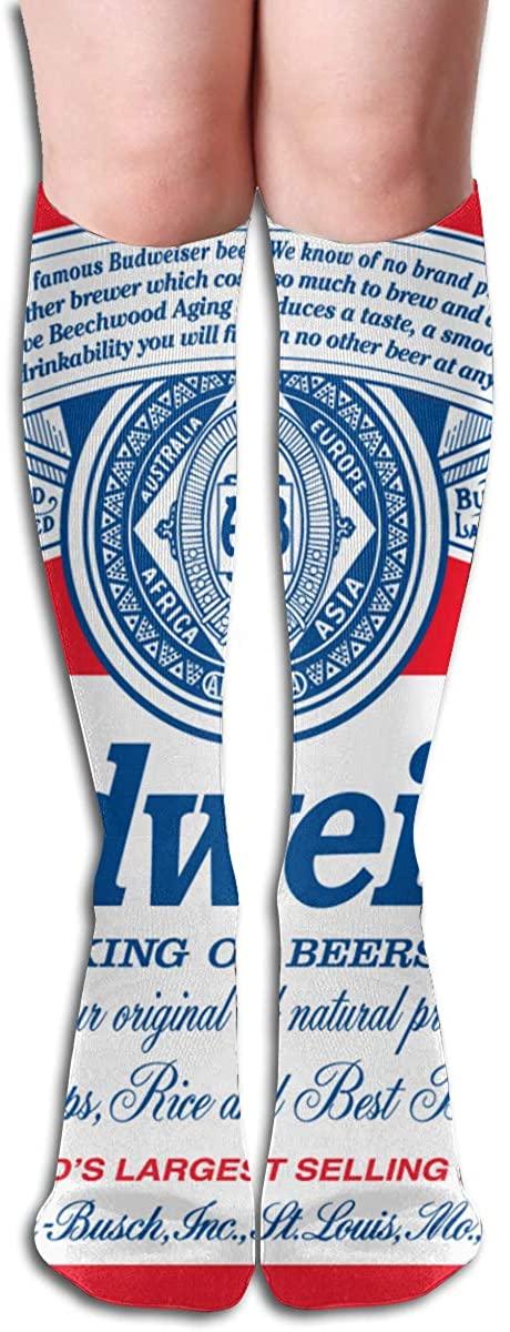 Budweiser Classic Logo Long Socks Women's Knee High Stockings Athletic Tube Stockings