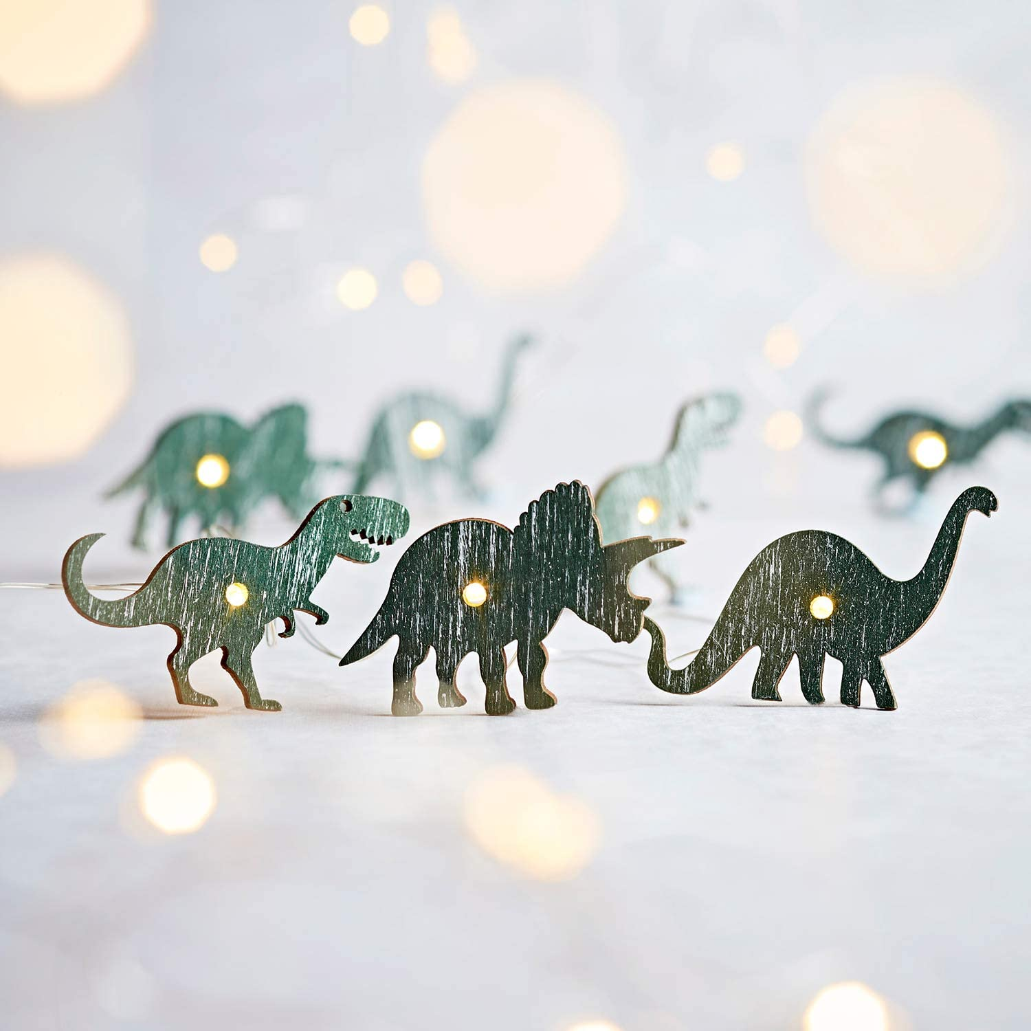 Lights4fun, Inc. 20 Dinosaur Battery Operated Micro LED Indoor Silver Wire String Lights