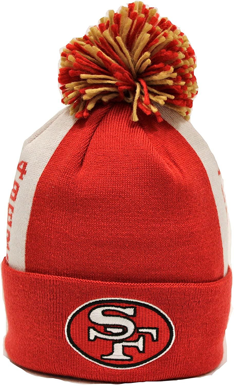 Mitchell & Ness San Francisco 49ers NFL Side Bar Premium Cuffed Knit Hat w/Pom