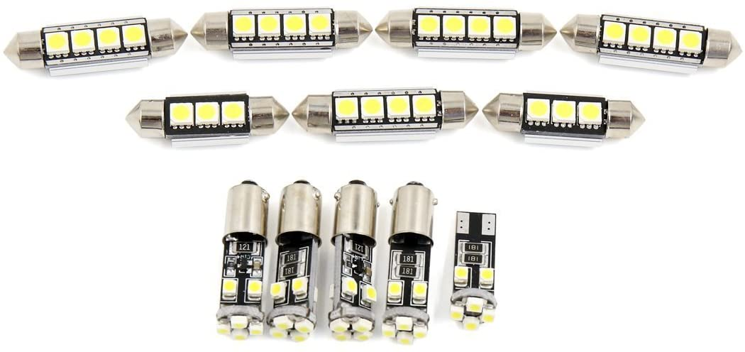 DishyKooker Car Light 12pcs White Car Dome Map Reading LED Interior Light for A3 / S3 (8P) 2006-2011 Canbus for Car Accessories