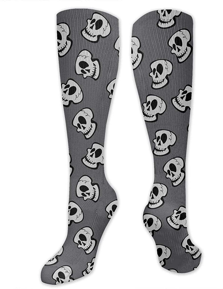 Men Women Knee High Socks Skeleton Skulls Of Pirate Design Yoga Hose Stockings