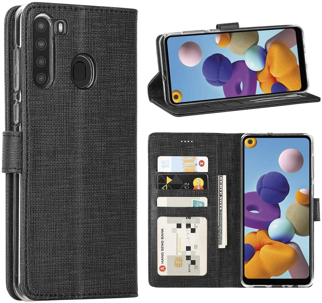 Redluckstar Galaxy A21 Case, PU Leather Wallet Flip Cover [3 Card Slots 1 Money Pocket] [Magnetic Closure] [Stand Kickstand] Shockproof Folio Phone Case for Galaxy A21 (Black)