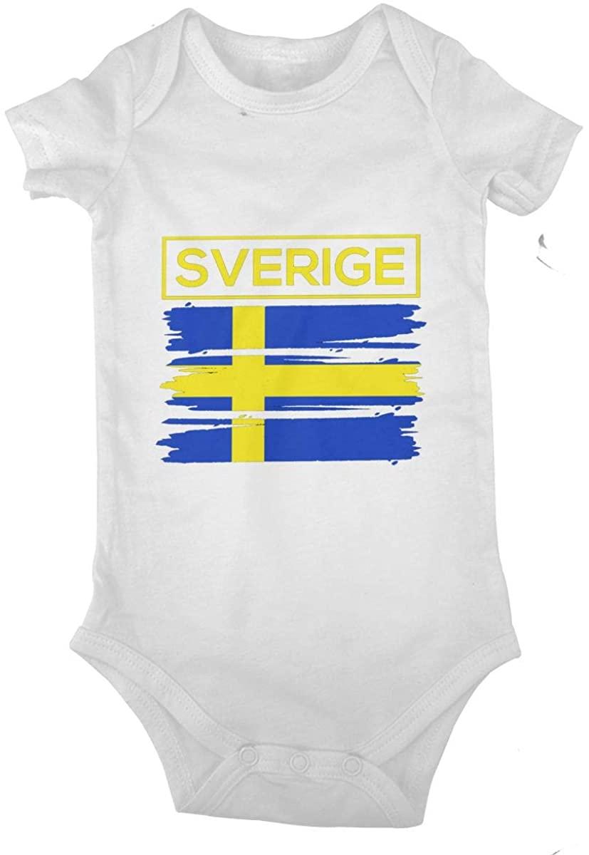 I Love Swedish Flag Bodysuits 0-24 Months Infant Baby Sport Jersey Bodysuit