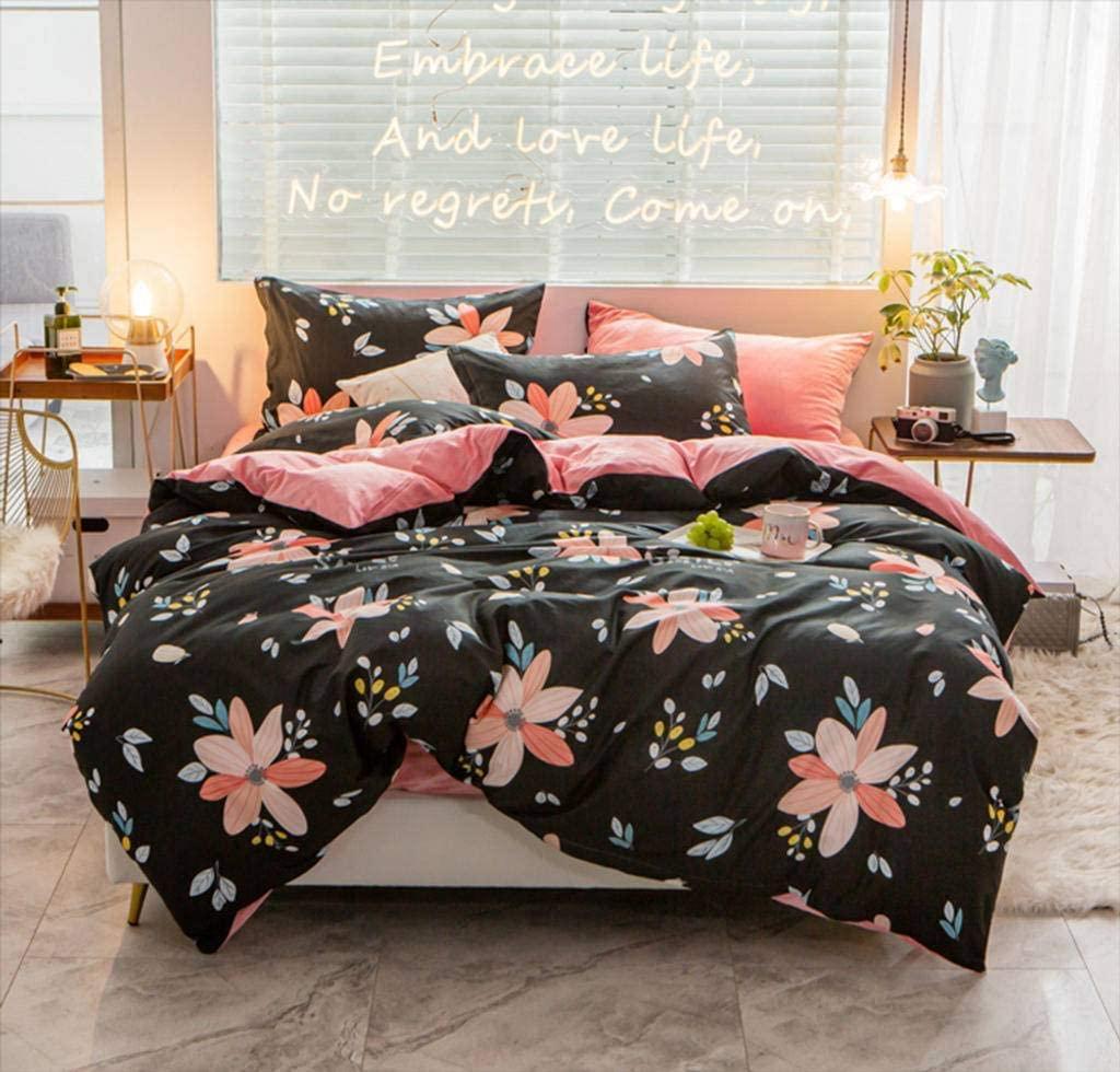 BEIGOO 1 Pieces Duvet Cover,Reversible Quilt Cover Vintage Printed Washed Bedding Hidden Zipper Closure Coral Fleece Comforter Duvet Cover-200x230cm(79x91inch)-N