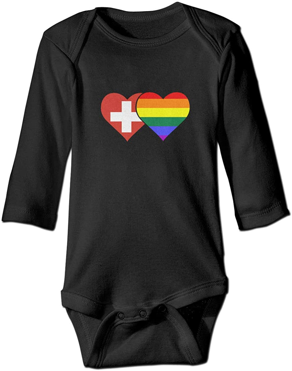 YOIGNG Swiss Flag and LGBT Flag Unisex Baby Bodysuit Infant Cotton Outfits Long Sleeve Jumpsuit