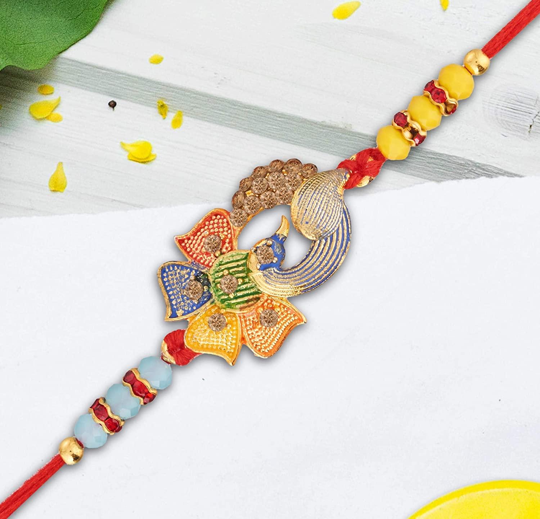 Rakhi | Rakhi for Brother | Raksha Bandhan | Duck Flower Design | Handmade Indian Thread | Faux Gold Beads Stones | Multicolor Rakhee for Bro VeeraBrothers | Designer Rakhi Thread Bracelet