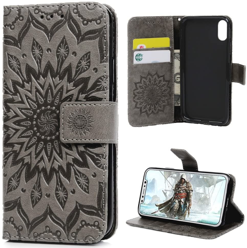 iPhone X Case, iPhone Xs Wallet Case Premium PU Leather Oil Wax Embossed Elephant Detachable Magnetic Cover Credit Card Cash Slots Cover for iPhone X/XS (Embossed Sunflower-Gray)