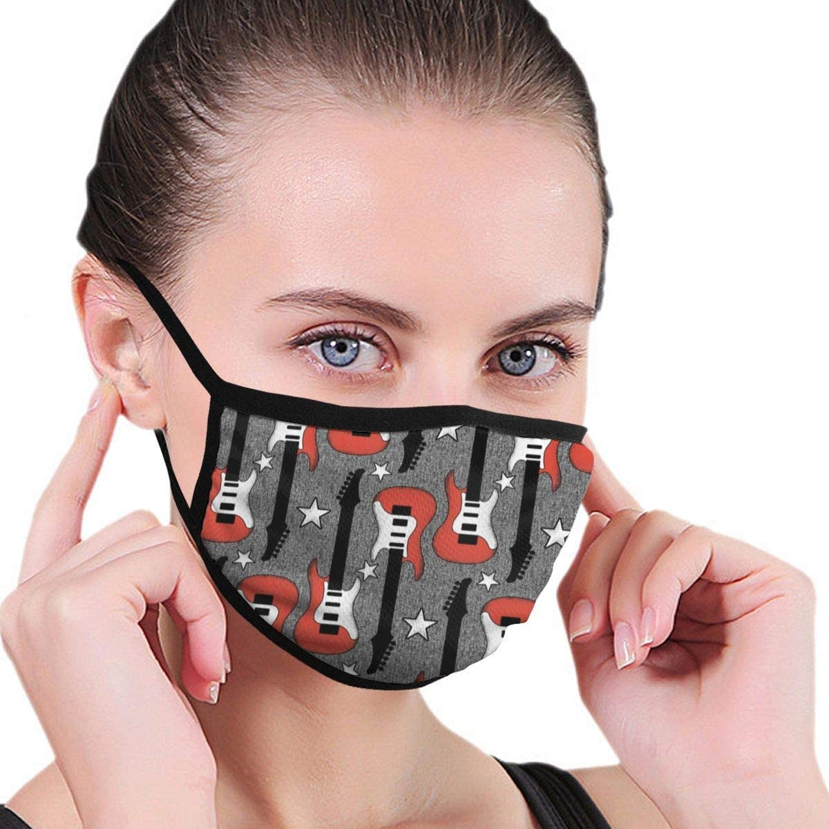 Fashion Face Mask Washable Reusable Mouth Sleeve, Rock Roll Guitar Mouth Anti Dust, Adjustable Dustproof For Unisex Outdoor Sports