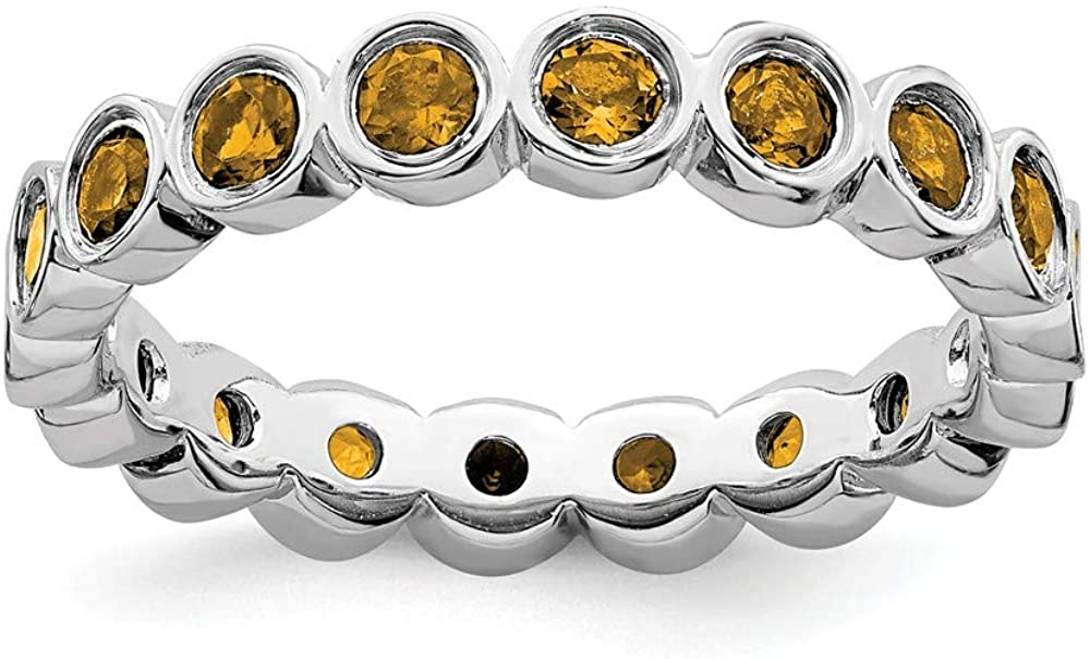 Solid 925 Sterling Silver Stackable Citrine Yellow November Gemstone Ring Eternity Band
