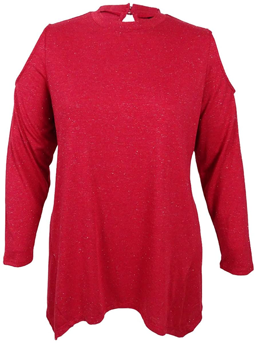 Style & Co. Womens Plus Cold Shoulder Glitter Casual Top Red 2X