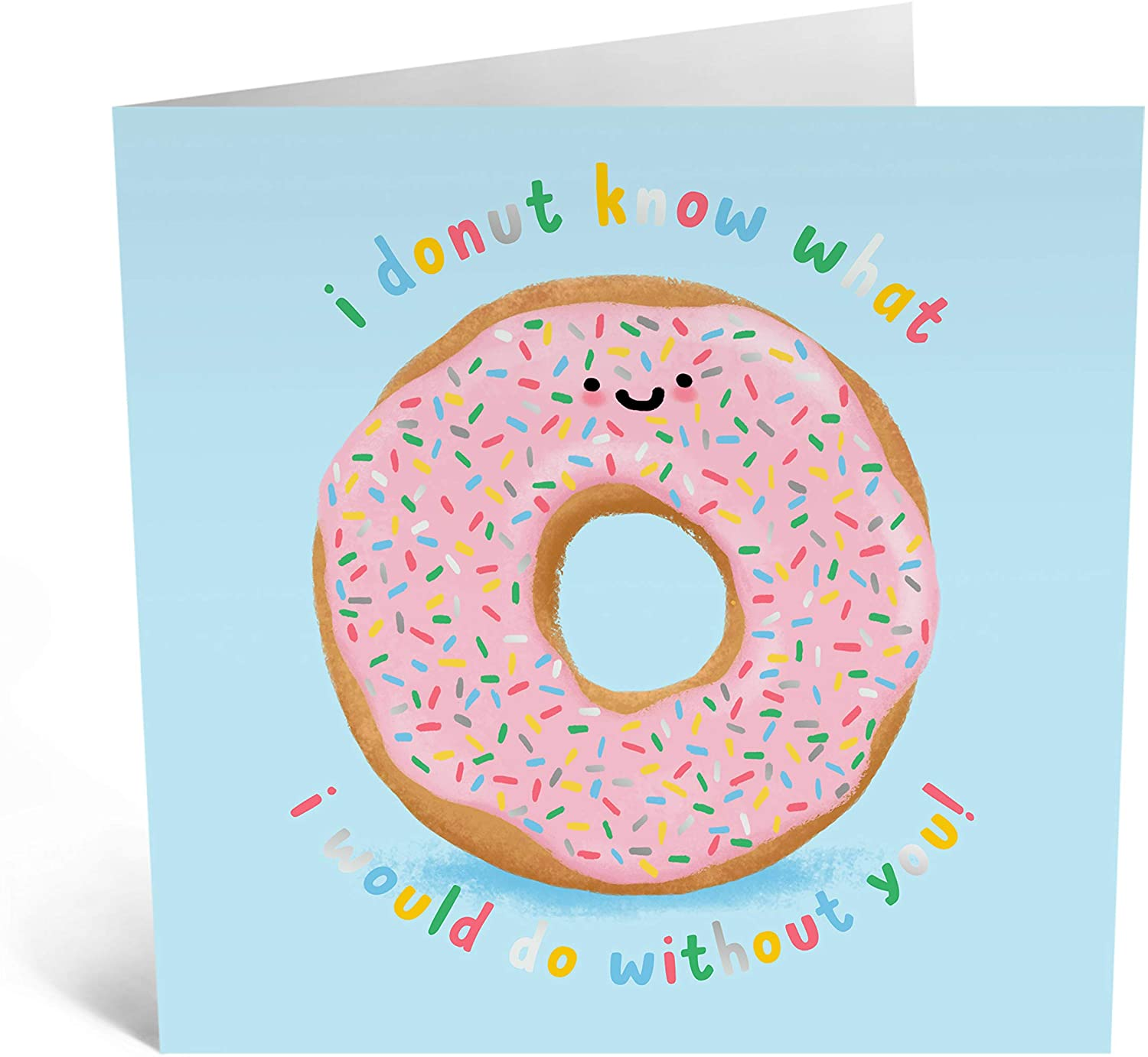 """Central 23 - Cute Anniversary Card - """"I Donut Know What I Would Do Without You"""" - Funny Pun Card - Wife Husband Boyfriend Girlfriend Best Friend - Comes With Fun Stickers"""