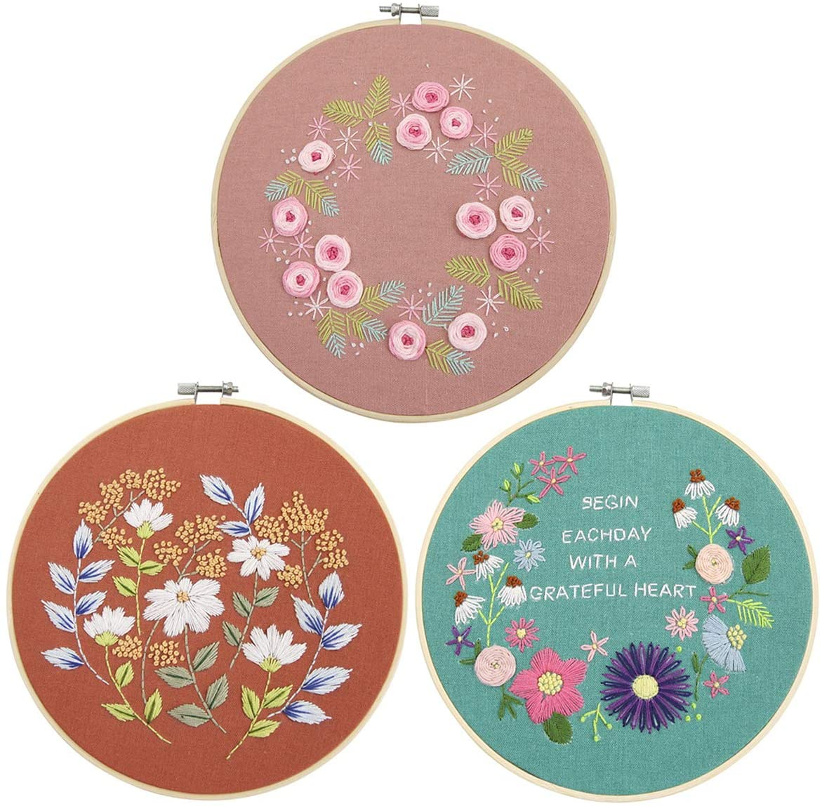 Eurobuy Cross Stitch Set, 3 Set of Embroidery Starter Kit Floral Cross Stitch Kit for Beginners Adults Kids Patterned Embroidery Cloth + Bamboo Hook + Tools