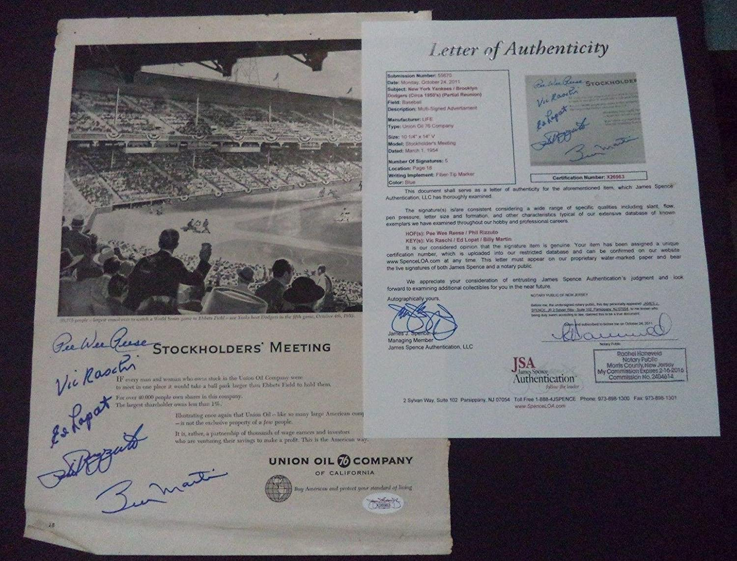 Pee Wee Reese/Phil Rizzuto/Vic Raschi Ed Lopat Signed Advertisement Jsa Loa - MLB Autographed Miscellaneous Items