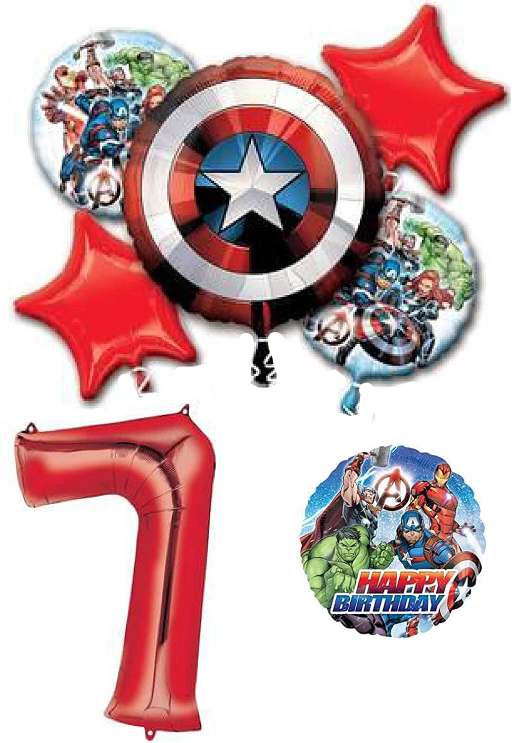 Marvel Avengers Shield 7th Birthday Party Balloon Decoration Bundle, Seven Year Old Birthday, 7 pieces