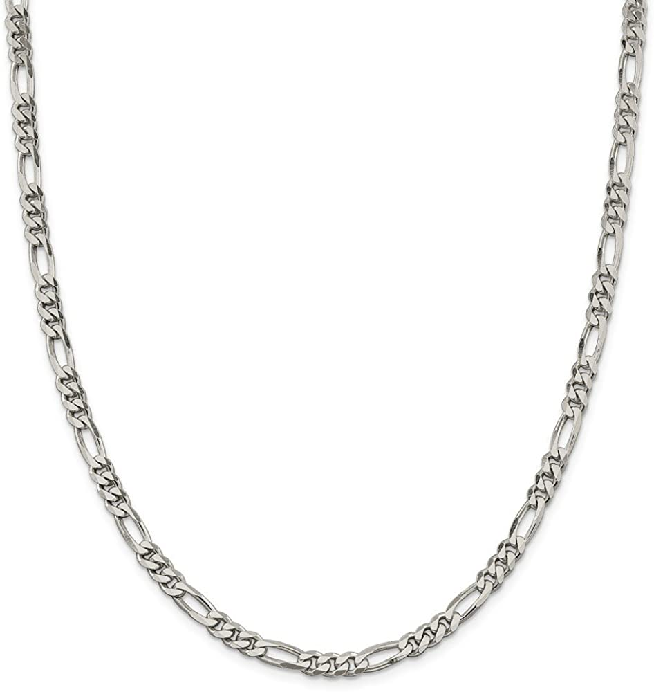 Solid 925 Sterling Silver 5.5mm Figaro Chain Necklace - with Secure Lobster Lock Clasp