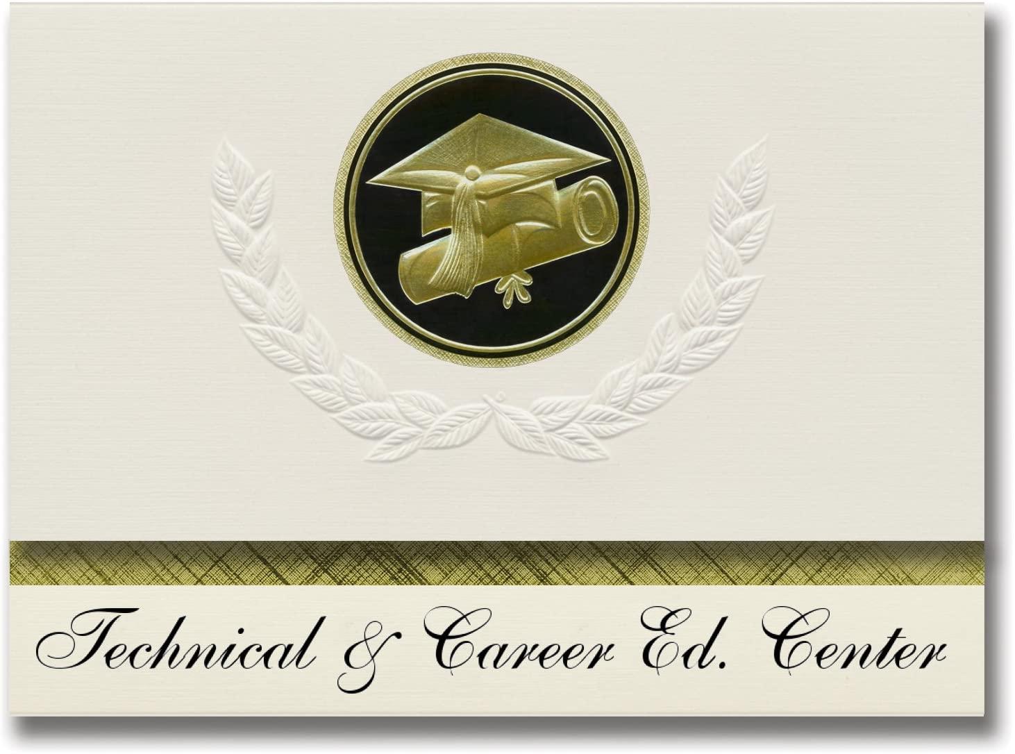 Signature Announcements Technical & Career Ed. Center (Virginia Beach, VA) Graduation Announcements, Presidential Basic Pack 25 Cap & Diploma Seal. Black & Gold.