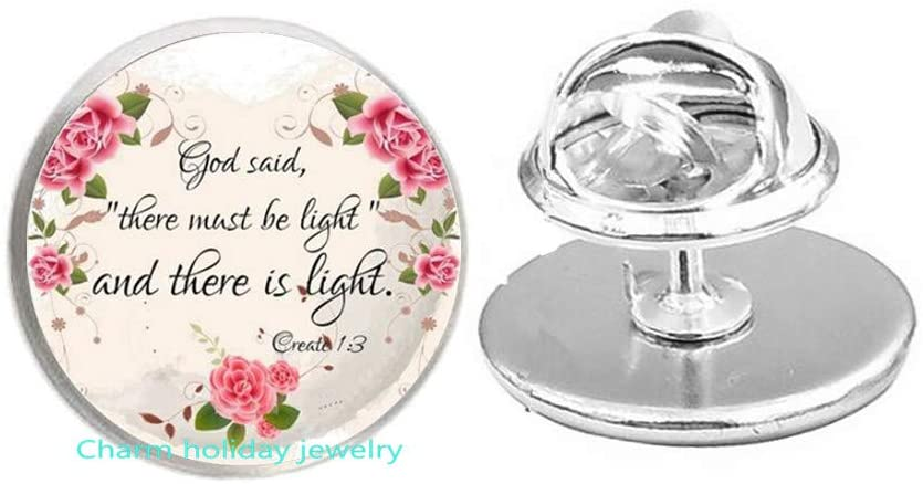God Said,There Must be Light Brooch,Bible Verse Brooch,Scripture Jewelry,Scripture Jewelry,Verse Brooch,Confirmation Jewelry-#351