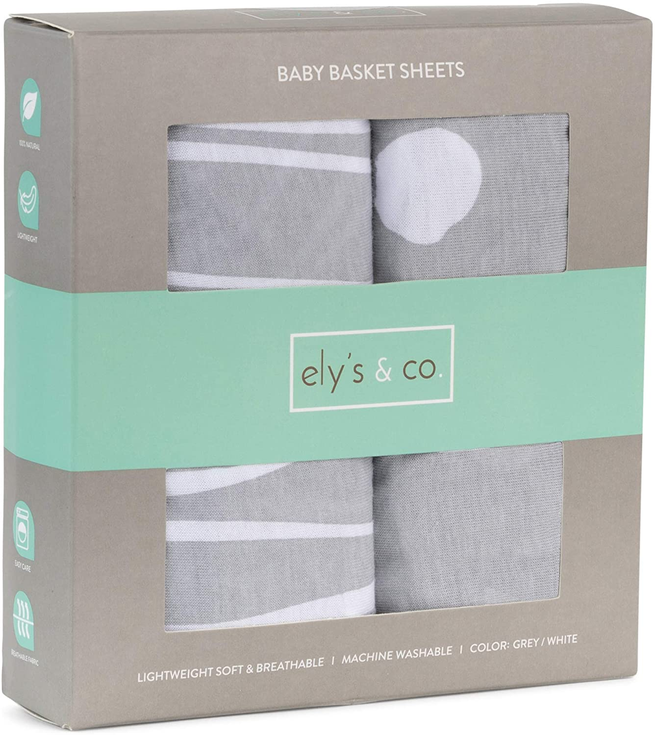 Ely's & Co. Baby Basket Sheet 2-Pack - 100% Jersey Knit Cotton for Baby Boy or Baby Girl (Grey Abstract Polka Dots and Grey Abstract Stripes)