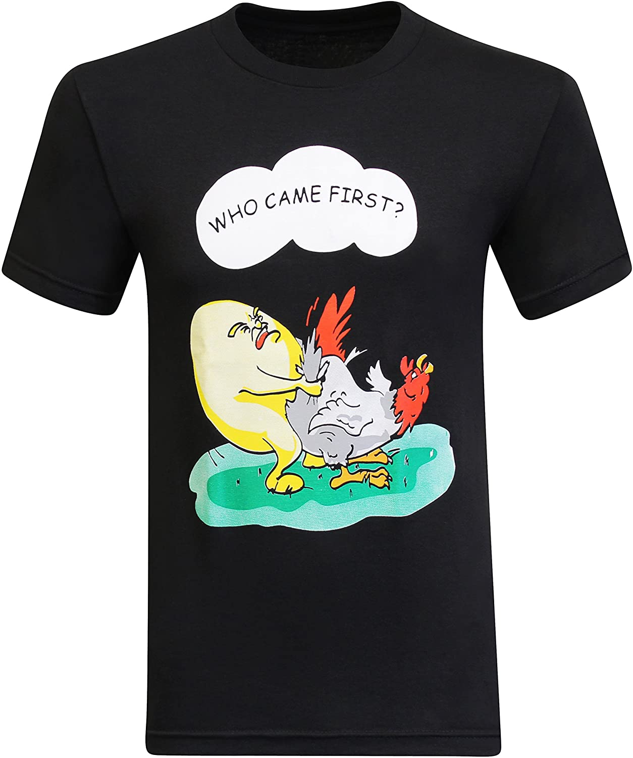 tees geek Who Came First Chicken Egg Funny Men's T-Shirt