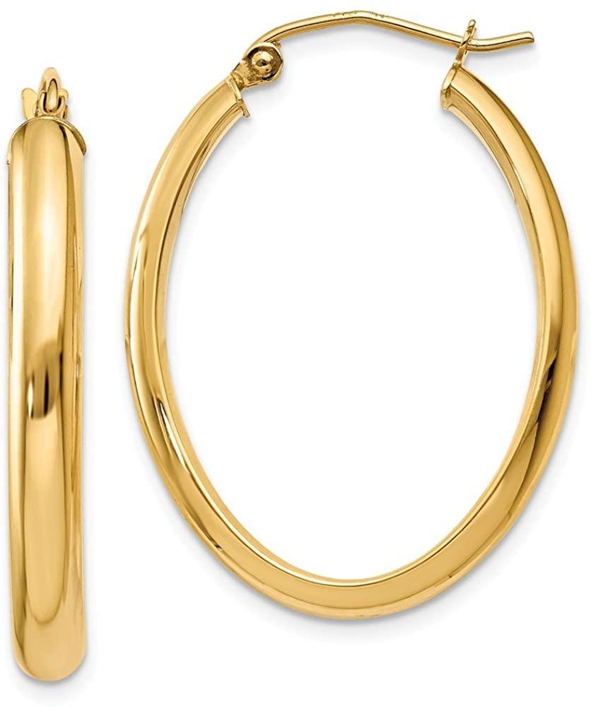 14K Yellow Gold Polished 3.5mm Oval Hoop Earrings TC189