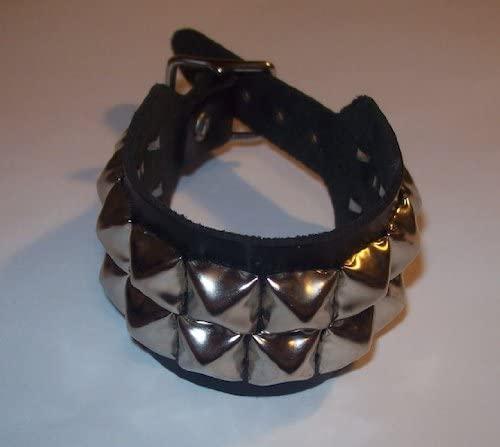 Genuine Black Leather Double Studded Single Buckle Wristband