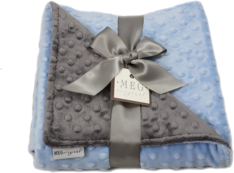 MEG ORIGINAL Baby Boy Reversible Minky Dot Blanket Blue & Charcoal Grey, 1383
