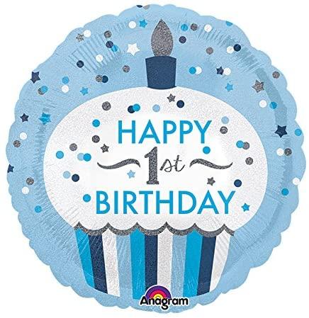 Amscan International 3453001 1st Birthday Cupcake Boy Foil Balloon