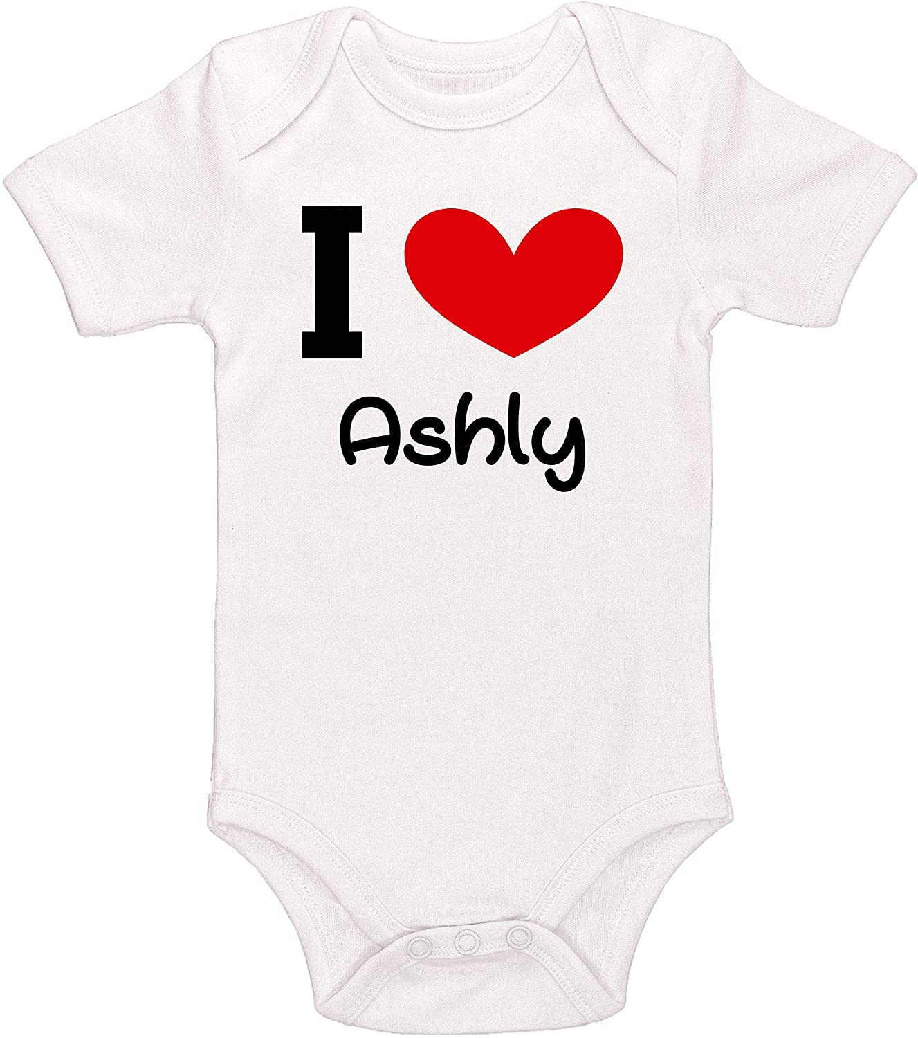 Kinacle I Love Ashly Personalized Baby Bodysuit