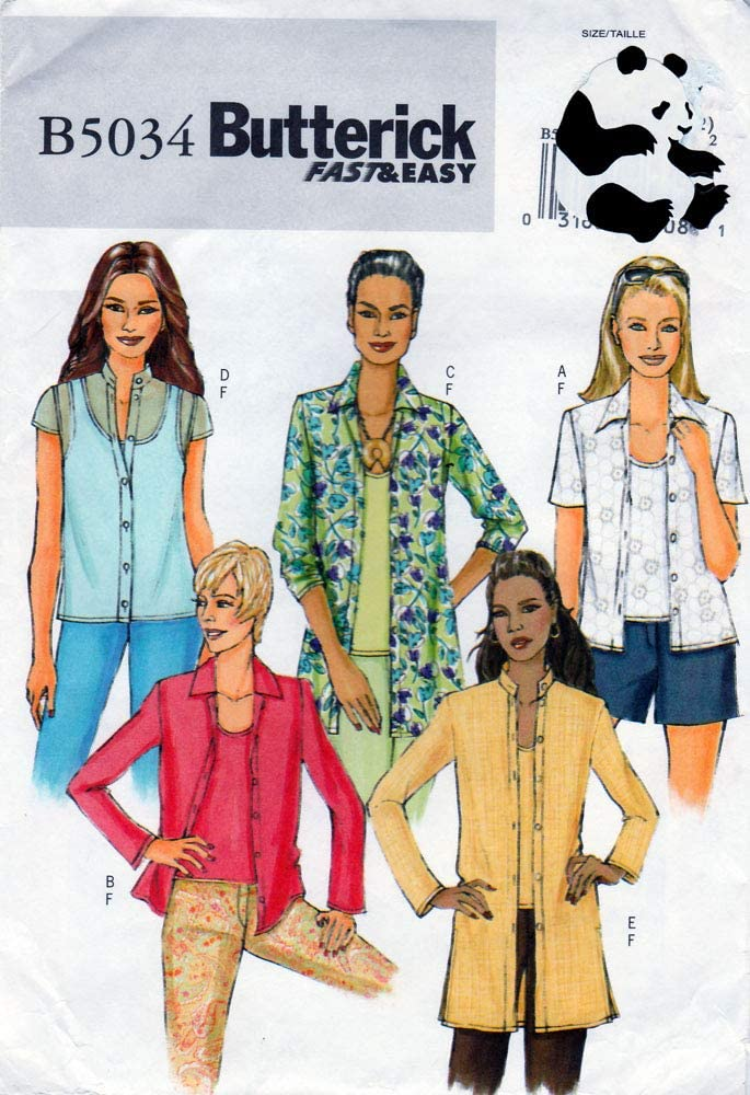Butterick Sewing Pattern B5034 c2007 Misses/Petites Shirts and Tank Top, Sizes 16-22