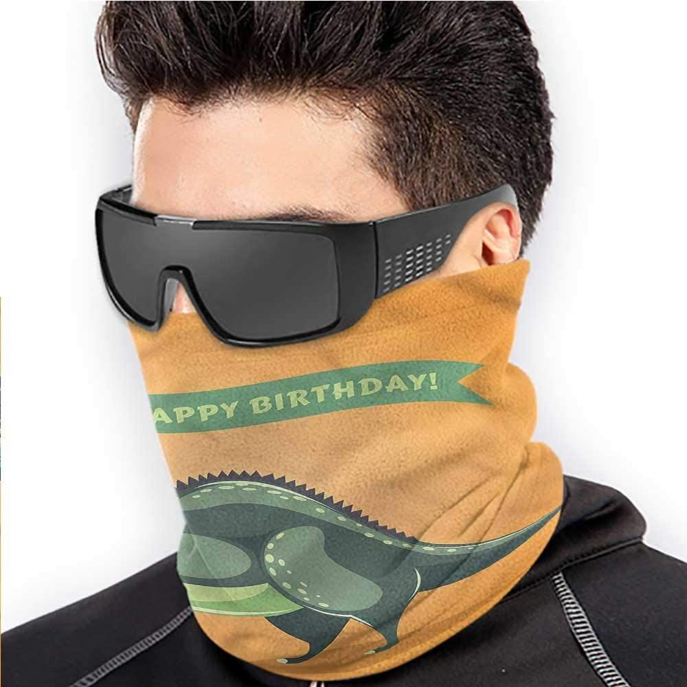 Neck Gaiters For Men Dinosaur Party Headwear Neck Warmer Motorcycle Happy Birthday Flag 10 x 12 Inch