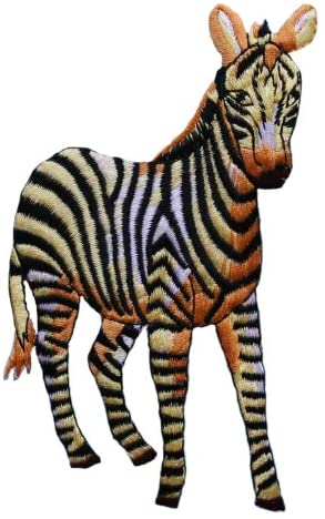 ID 0627Z Large African Zebra Patch Sunset Safari Embroidered Iron On Applique