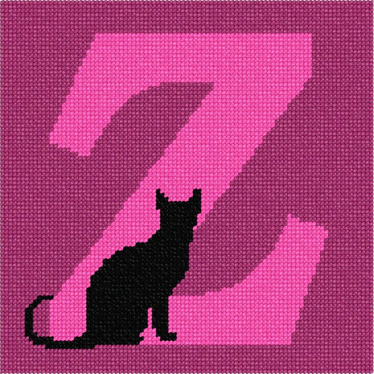 pepita Letter Z Black Cat Needlepoint Canvas