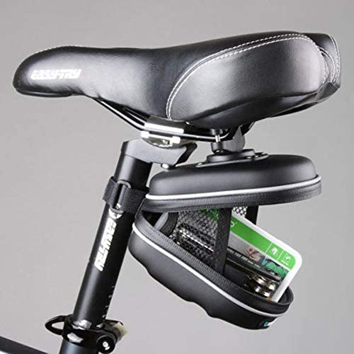 JPONLINE Mini Waterproof Bicycle Bike Rear Bag Cycling Saddle Seat Bag EVA Basket Rear Pouch Rainproof Bicycle Storage Bag Case Black