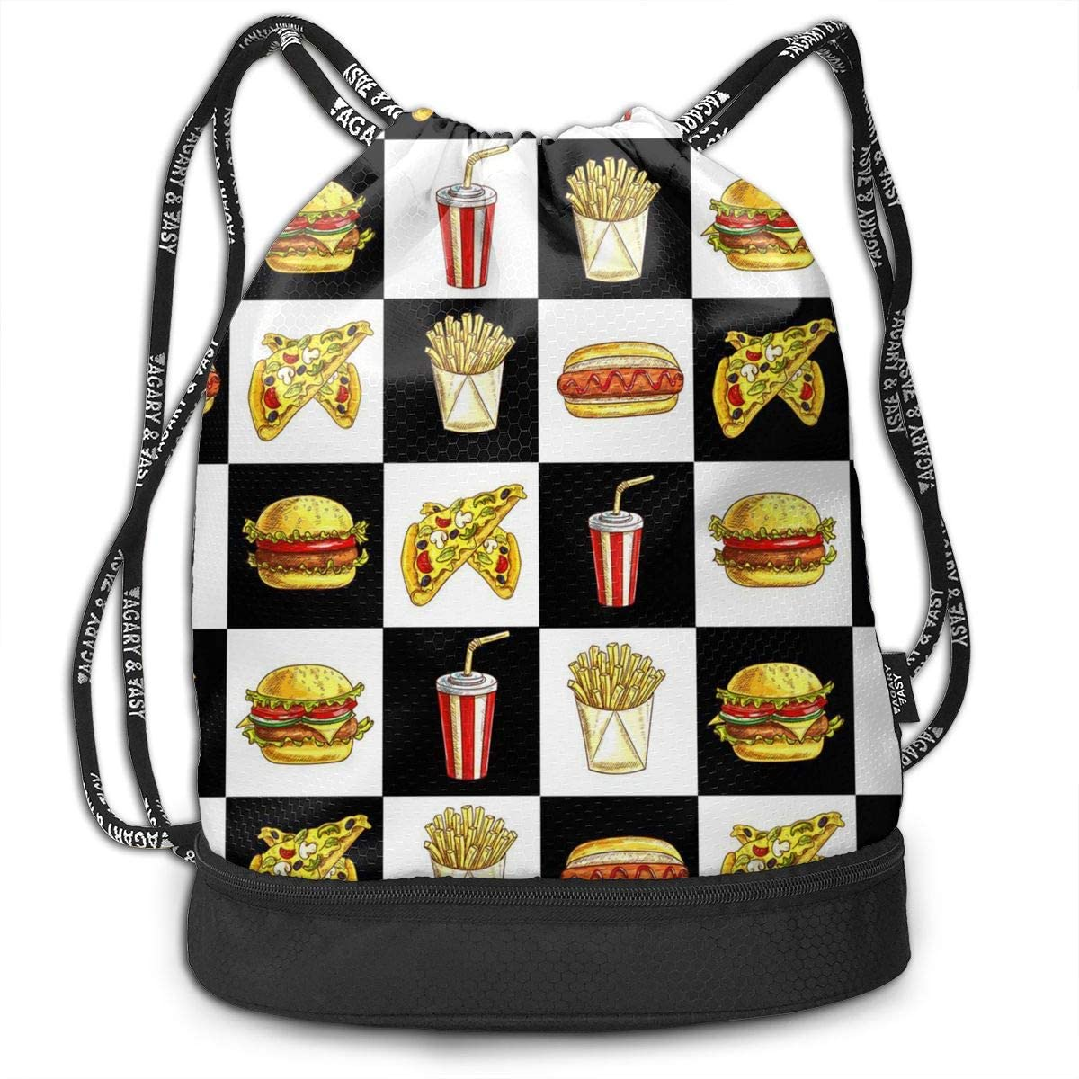 Bundle Backpacks Hamburger Hot Dog Fries Gym Sack Drawstring Bags Casual Daypack Yoga Bag School Training Pouch