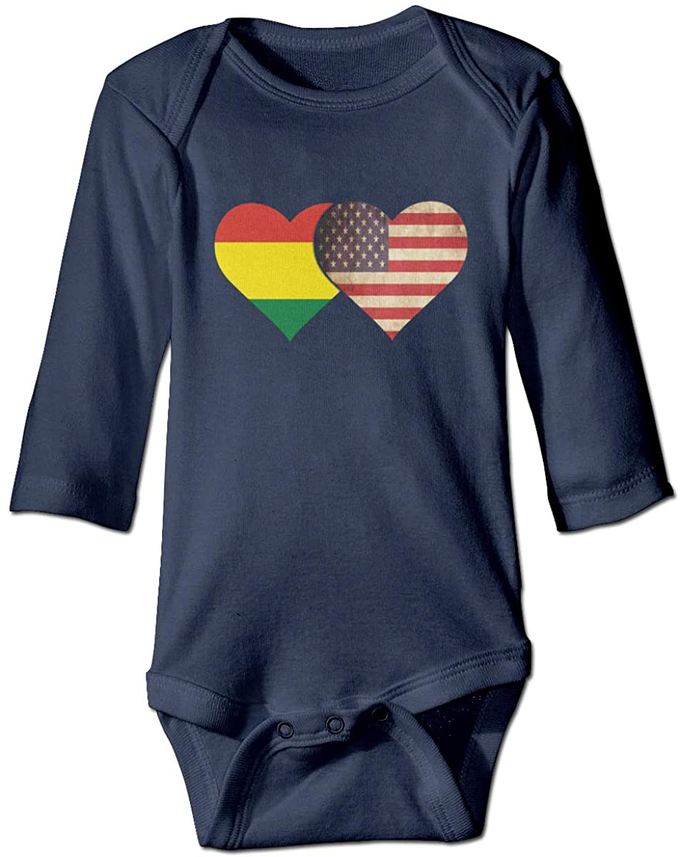 YOIGNG Bolivia Flag and American Flag Unisex Baby Bodysuit Infant Cotton Outfits Long Sleeve Jumpsuit