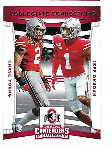 CHASE YOUNG JEFF OKUDAH 2020 Panini Contenders Draft Picks Collegiate Connections #9 Rookie Card RC Football Ohio State Buckeyes Detroit Lions