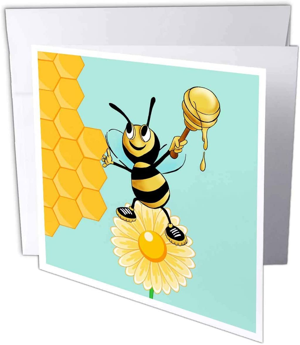 3dRose Bee with Honey and Flower Blossom Honeycomb - Greeting Card, 6 by 6-inch (gc_311457_5)
