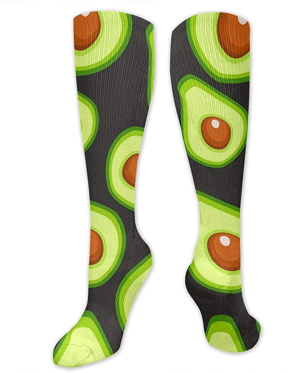 Men Women Knee High Socks Avocado Fruits Art Pattern Boot Tube Hose Thigh Stockings