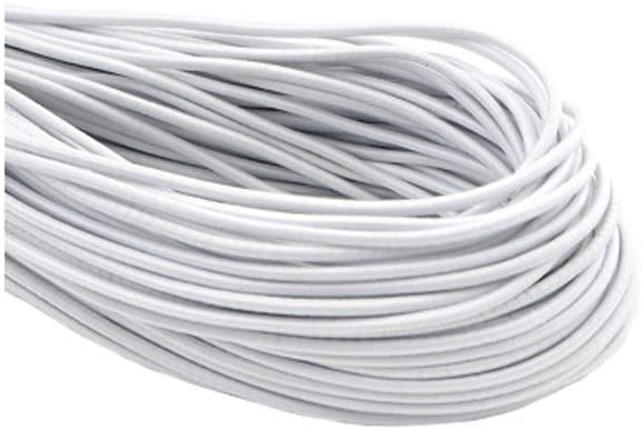 33 Yards Elastic Band 1/8 inch/3mm Round Elastic String Cord Sewing Elastic Rope Stretch High Elasticity Strap for Band Ear Tie Rope Handmade DIY Sewing Craft(White)