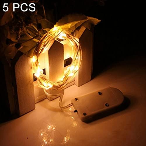 Soft Ever ST 5 PCS 2m 2 x CR2032 Button Batteries Powered 20 LED Copper Wire String Light Festival Lamp/Decoration Light Strip. SE-FT (Color : Warm White)