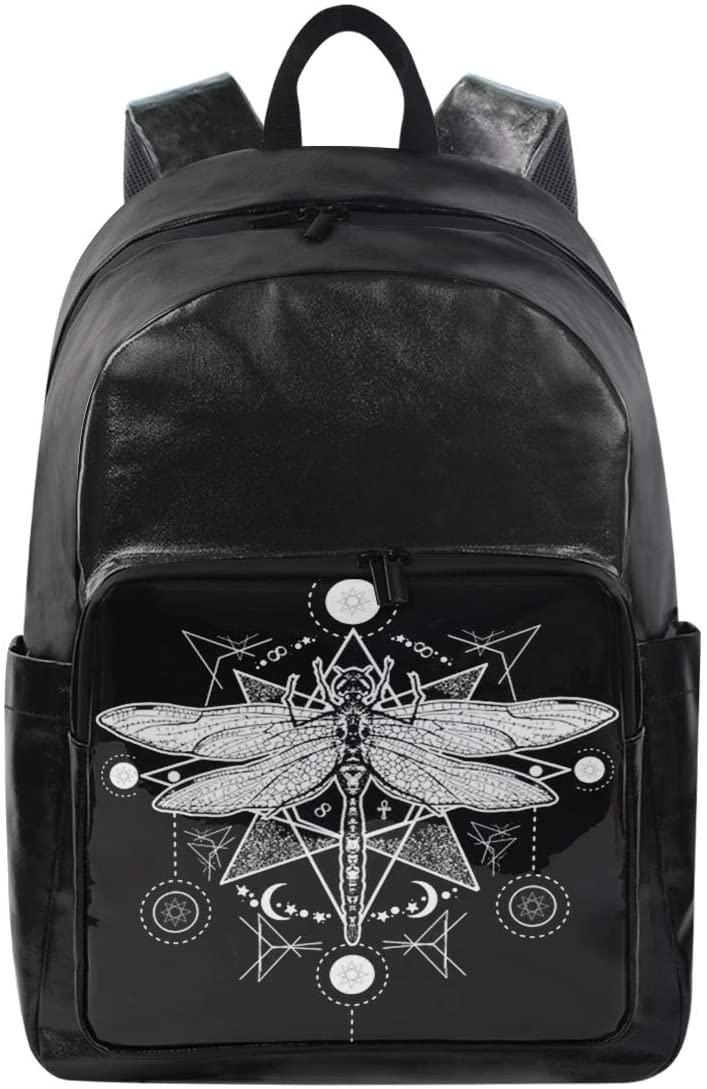 Women/Men Canvas Backpack Dragonfly White Black Bookbag College School Shoulder Bag Travel Rucksack