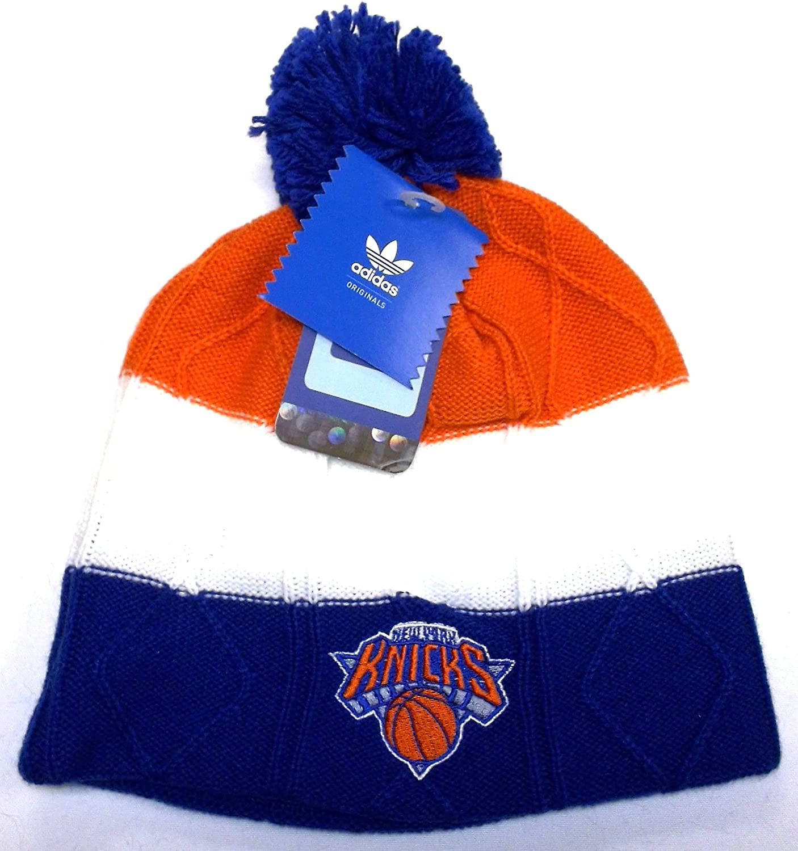 adidas NBA New York Knicks Ladies Team Logo Striped Knit Beanie - Royal Blue/White/Orange