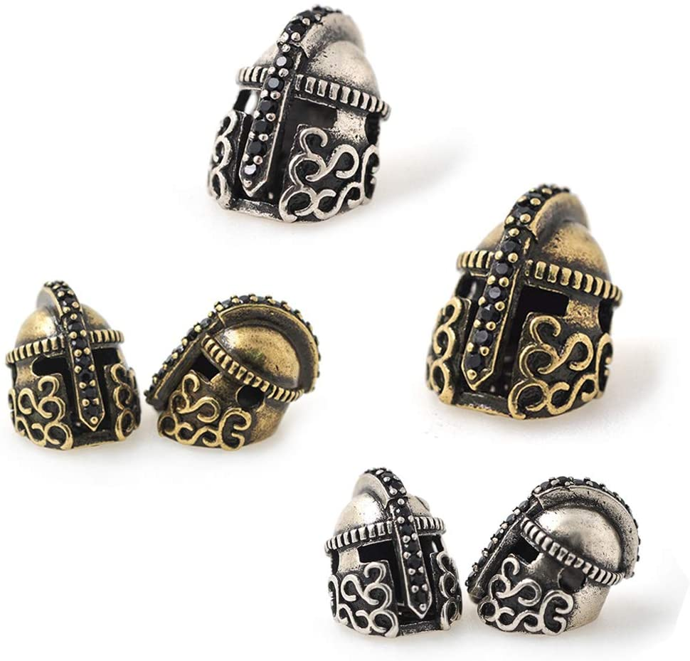 SouthBeat Antique Bronze Charms Rome Warriors Helmet for Men DIY Bracelet Spacer Beads 11x14mm 10Pcs MixColor